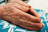 Old hands in prayer — Stock Photo