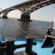 Bridge through the river Volga — Stock Photo