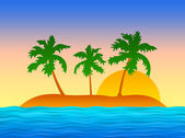 Exotic tropical island with palms — Stock Photo