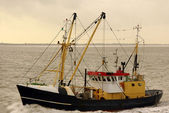 Two fishing trawlers on catching of shrimps. Holland — Stock Photo