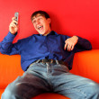 Happy teenager with phone — Stock Photo