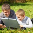 Stock Photo: Brothers with notebook