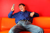 Happy teenager with phone — Foto Stock