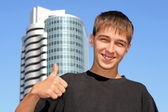 Teenager with thumb up — Stock Photo