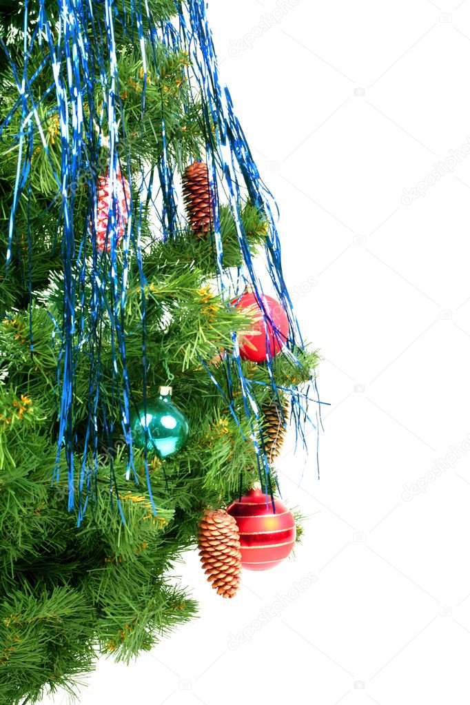 Christmas decoration glass balls on fir branches — Stock Photo #1325489