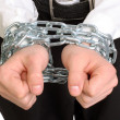 Hands tied chains — Stock Photo #1330597