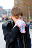 Attack of the flu on the street — Stock Photo