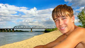 Teenager on the beach — Stock Photo
