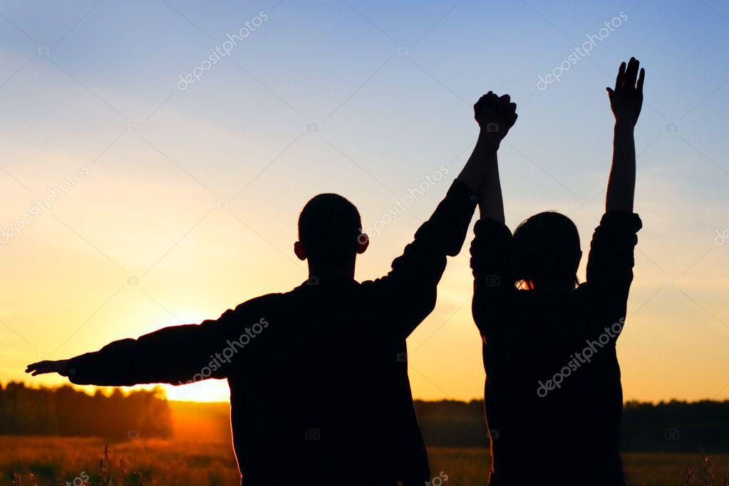 Friends silhouette on sunset background  Stock Photo #1331128