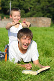 Happy brothers outdoor — Stock Photo