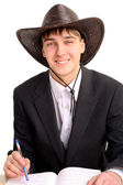 Student in stetson hat — Stock Photo