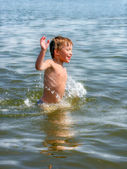 Kid in the water — Foto Stock