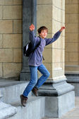 Schoolboy is jumping — Stock Photo