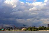 City before thunder — Stock Photo