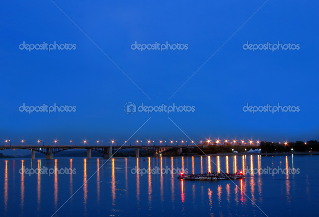 Night view on the bridge with a refllection water  Stock Photo #1738919