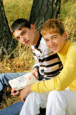 Boys with book — Stock Photo