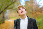 Teenager look upwards — Stock Photo