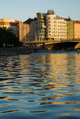 Dancing house in the evening sunlight — Stock Photo