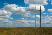 Power line in countryside — Stock Photo