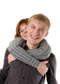 Happy young adult couple — Stock Photo