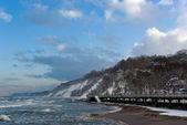 Winter landscape: Baltic sea embankment — Stock Photo