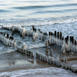 Royalty-Free Stock Photo: Ice-covered breakwaters