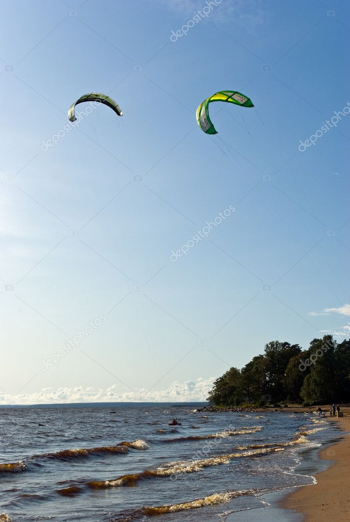 Gulf of Finlnd coastline and two kites in the sky  Stock Photo #1800209