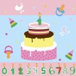 Stock Vector: Birthdays cake