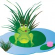 Royalty-Free Stock Vector Image: Small frog on the water lily leaf.