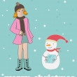Girl and snowman. — Stock Vector #1432018