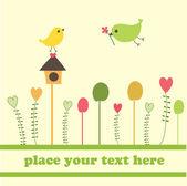 Pájaros en polluelo caja — Vector de stock