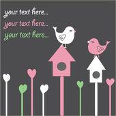 Birds on nestling box — Stock Vector