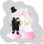 Bride and groom on the clouds. — Stock Vector
