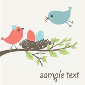 Vögel-familie — Stockvektor