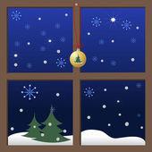 Weihnachten-Fenster. — Stockvektor