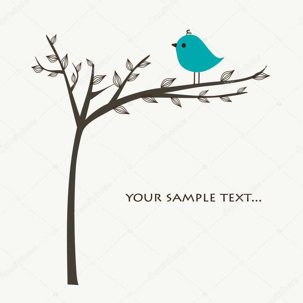 Retro greeting card with bird — Stockvectorbeeld #1431854