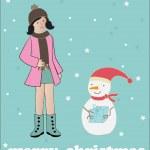 Girl make snowman. vector — Stock Vector #1446816