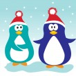 Xmas penguins. - Stock Vector