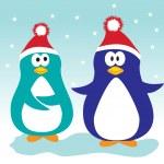 Xmas penguins. — Stock Vector