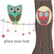 Owls on tree. — Vector de stock #1446840