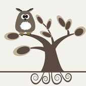 Owl on the tree. — Stock Vector