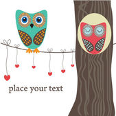 Owls on the tree. — Vector de stock