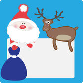 Santa and reindeer with banner. — Stock Vector