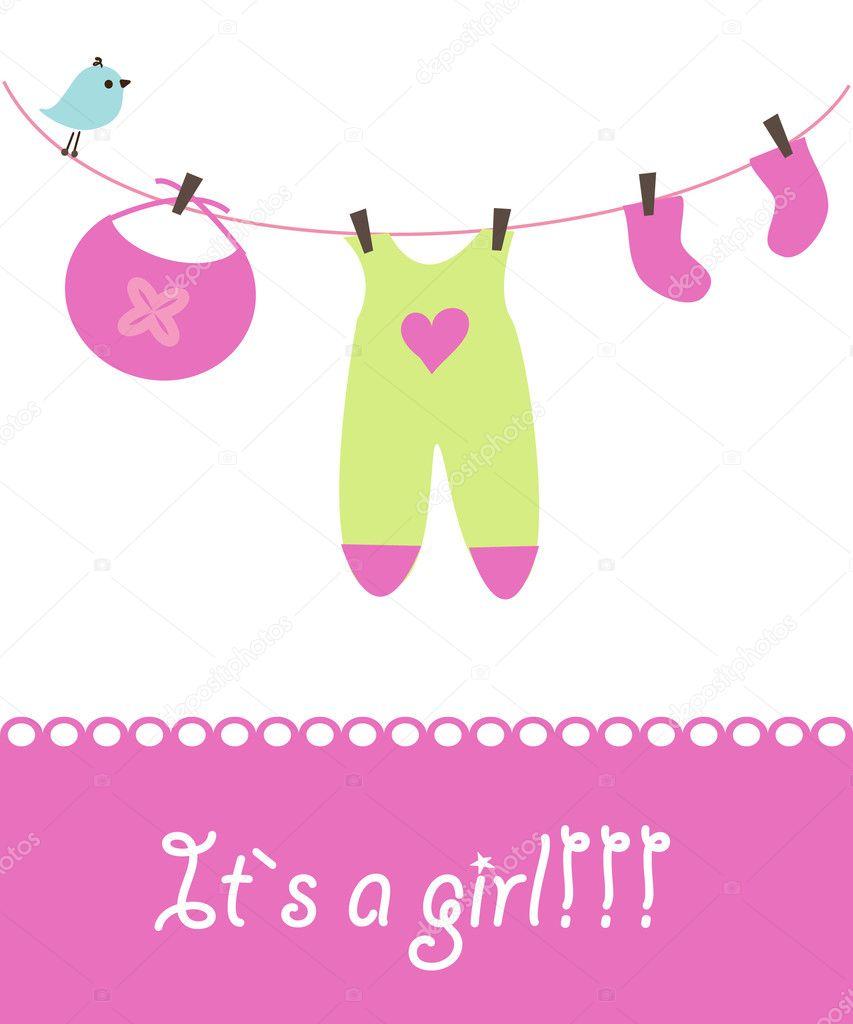 Baby girl announcement card Vector mcherevan 1446817 – Announcement of Baby Girl