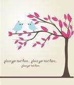 Ptáci na stromě. — Stock vektor