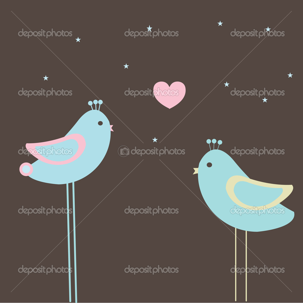 Birds couple in love. vector — Stock Vector #1492387
