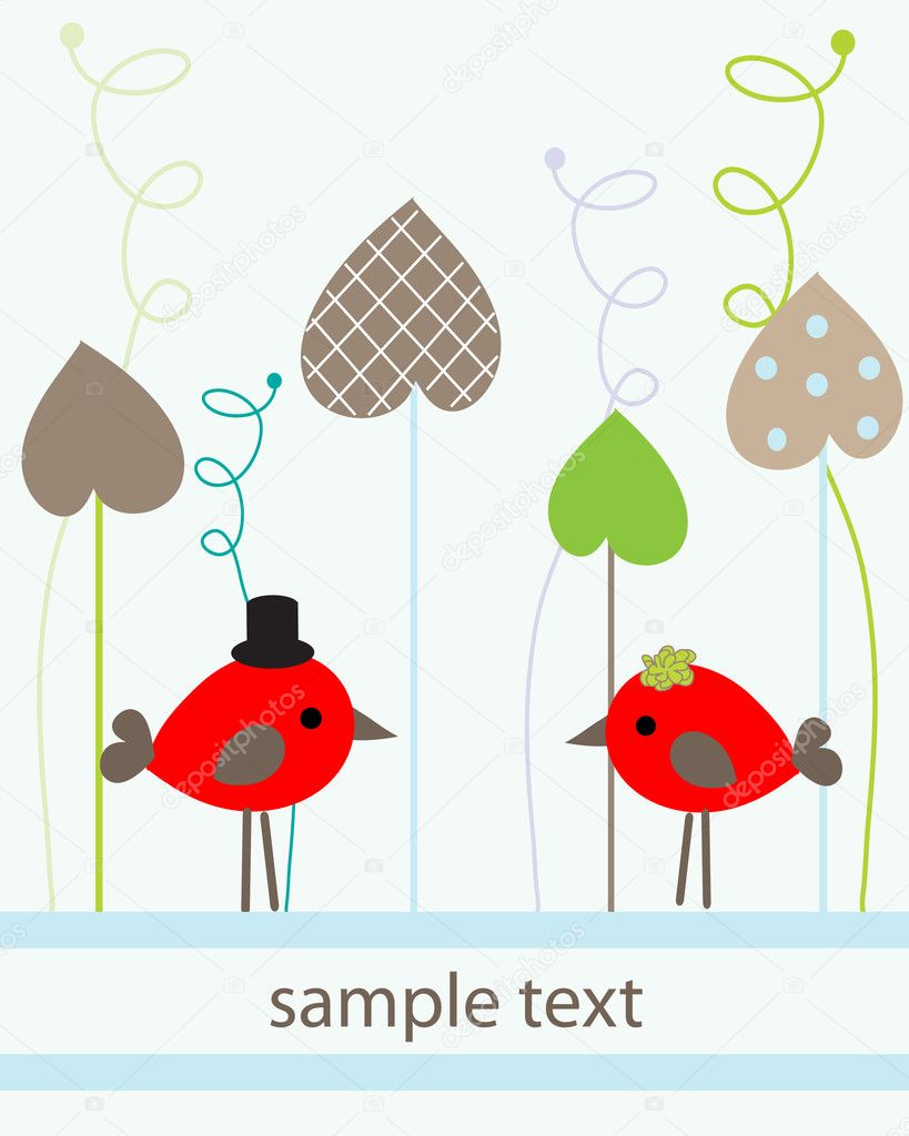 Birds couple in love. vector — Imagen vectorial #1492388