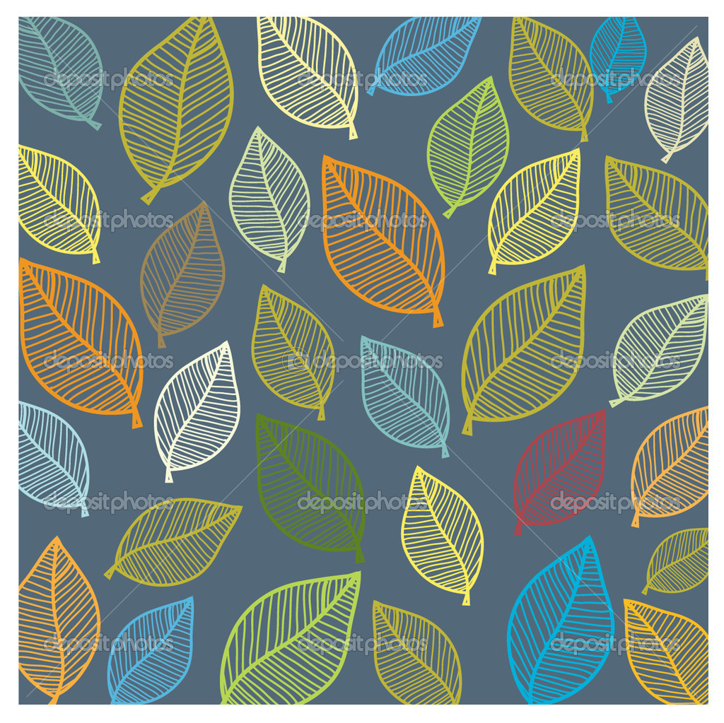 Seamless wallpaper with leaves. Vector. — Stock Vector #1495255