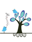 Birds in love on the tree. — Stock Vector