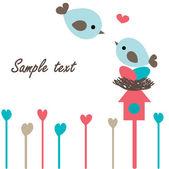 Aves en amor en el árbol. — Vector de stock